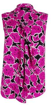 Nine West Women's Sleeveless Floral-Print Tie-Front Blouse