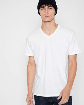 7 For All Mankind Short Sleeve Raw V-Neck Tee in White