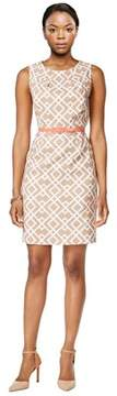 Connected Apparel Geo Print Belted Sleeveless Sheath Dress.