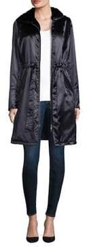 Jane Post Shiny Satin Hooded Coat with Faux Fur