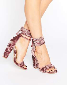 Missguided Crushed Velvet Wrap Around Heeled Sandal