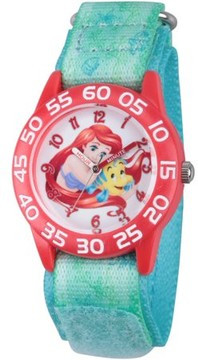 Disney Princess Ariel and Flounder Girls' Red Plastic Time Teacher Watch, Green Stretch Hook and Loop Nylon Strap with Printed Ariel