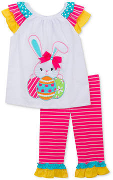 Rare Editions 2-Pc. Bunny-Print Top & Leggings Set, Baby Girls