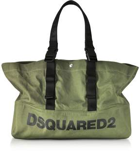 DSQUARED2 Military Green Canvas Shopping Bag w/Funny Handles