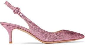 Gianvito Rossi 55 Textured-lamé Slingback Pumps - Baby pink