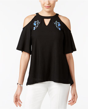 ECI Embroidered Cold-Shoulder Top