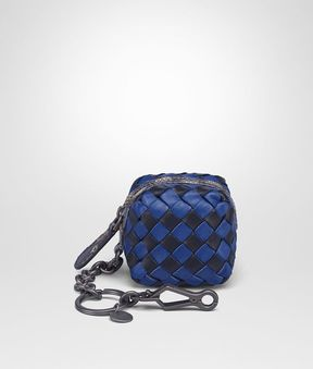Bottega Veneta Multicolor Intrecciato Nappa Check Karung Key Ring