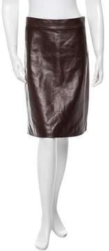 Carolina Herrera Leather Pencil Skirt