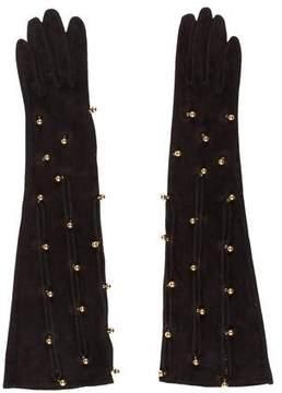 Hermes Embellished Suede Gloves