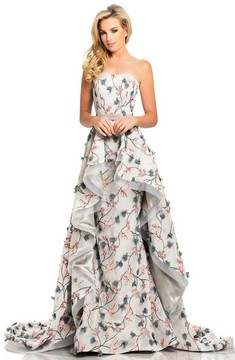 Johnathan Kayne 8047 Strapless Floral Embroidered Mesh Prom Gown