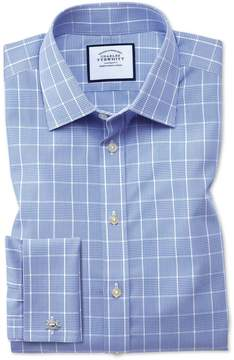 Charles Tyrwhitt Slim Fit Non-Iron Prince Of Wales Mid Blue Cotton Dress Shirt French Cuff Size 15/35