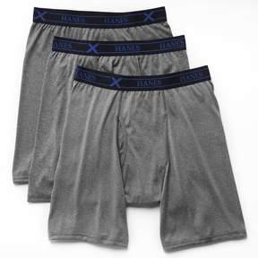 Hanes Big & Tall 3-pk. Ultimate X-Temp Longer Leg Boxer Briefs