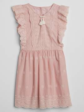 Gap Eyelet Ruffle Tassel Dress