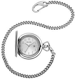 Bulova Men's Stainless Steel Pocket Watch withDate Window