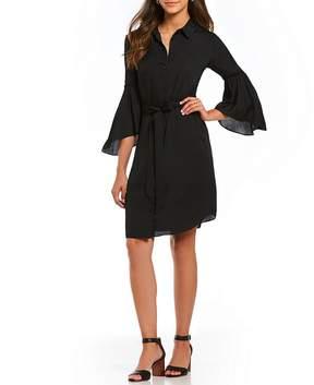 Isaac Mizrahi Imnyc IMNYC Bell Sleeve Belted Shirt Dress