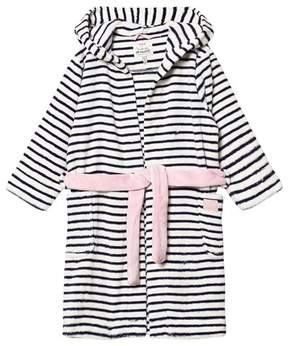 Joules Navy and White Stripe Hooded Fleece Robe
