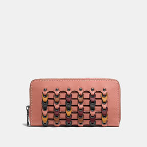 COACH Coach Accordion Zip Wallet In Link Glovetanned Leather - BLACK COPPER/MELON MULTI - STYLE