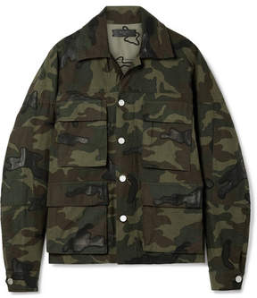 Amiri Leather-appliqued Camouflage-print Cotton-canvas Jacket - Army green