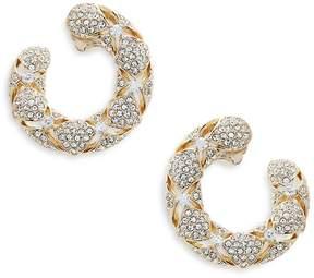 Adriana Orsini Women's Naga Goldtone Crystal Hoop Earrings