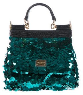Dolce & Gabbana Lizard-Trimmed Sequined Mini Miss Sicily Bag - GREEN - STYLE