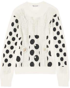 Comme des Garcons Polka-dot Cotton Cardigan - Off-white