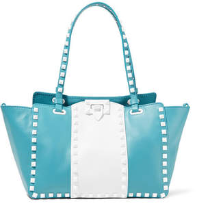 Valentino Garavani The Rockstud Two-tone Leather Trapeze Bag - Azure