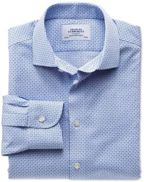Charles Tyrwhitt Extra Slim Fit Semi-Spread Collar Non-Iron Business Casual Grid Check Sky Blue Cotton Dress Shirt Single Cuff Size 16/38