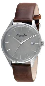 Kenneth Cole Stainless Steel and Leather Strap Watch, 10029305