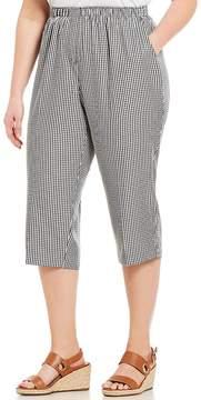 Allison Daley Plus Size Pull-On Gingham Print Capri Pants