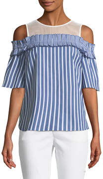 Cynthia Steffe Cece By Cold-Shoulder Striped Blouse