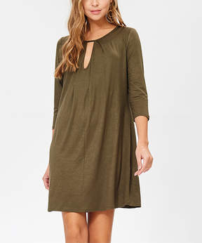Bellino Olive Keyhole Shift Dress - Women