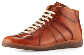 Maison Margiela Men's Replica Leather Mid-Top Sneaker, Brown