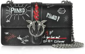 Pinko Love Graffiti Leather Shoulder Bag