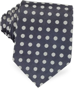 Forzieri Dark Blue with Gray Large Woven Dots Men's Pure Silk Tie