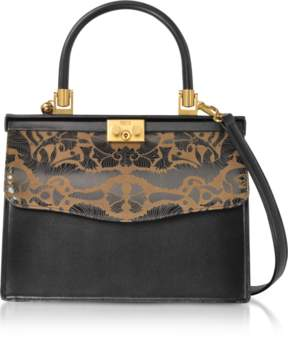 Rodo Laser Printed Leather Top Handle Satchel Bag