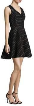 Shoshanna Lipstick V-Neck Flare Dress