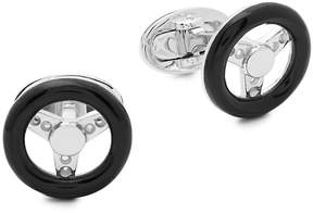 Jan Leslie Men's Onyx and Sterling Silver Steering Wheel Cuff Links