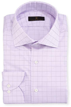Ike Behar Gold Label Check Cotton Dress Shirt, Lavender