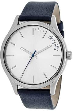 Simplify Silver & Navy The 2400 Leather-Strap Watch - Unisex