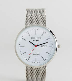Reclaimed Vintage Inspired Date Mesh Watch In Silver Exclusive to ASOS