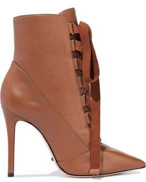 Schutz Lace-Up Suede-Trimmed Leather Ankle Boots
