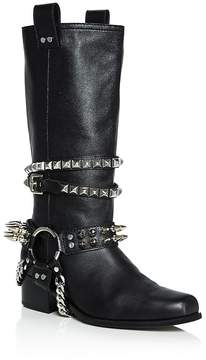 Moschino Women's Studded Leather Tall Boots