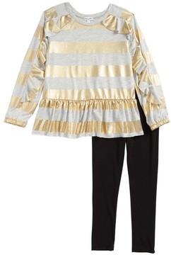 Splendid Girl's Foil Stripe Tee & Leggings Set