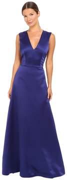 Alberta Ferretti Sleeveless V-Neck Satin Gown Women's Dress