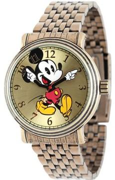 Disney Mickey Mouse Men's Antique Gold Vintage Articulating Alloy Case Watch, Gold Bracelet