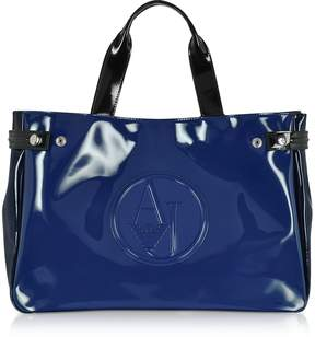 Armani Jeans Large Blue, Dark Navy and Black Faux Patent Leather Tote Bag