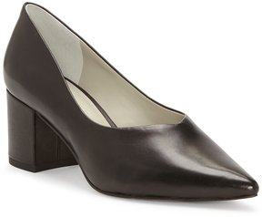 1 STATE Jact Leather Pointed-Toe Block Heel Pumps