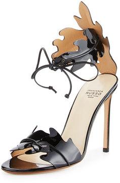Francesco Russo Leaf-Cut Leather Ankle-Tie Sandal