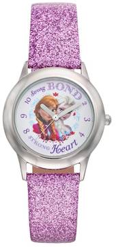 Disney Disney's Frozen Anna & Elsa Strong Bond Strong Heart Girls' Leather Watch