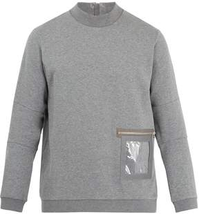 Oamc Window leather-trimmed cotton sweatshirt